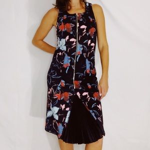 SUNO Floral Midi Tank Zip Up Dress Size 4